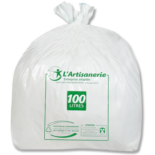 sac poubelle plastique 100 l blanc 60 carton de 100 l 39 apei de saint amand montrond. Black Bedroom Furniture Sets. Home Design Ideas
