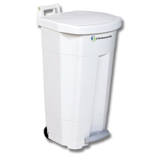 Poubelle collecteur plastique mobile blanche p dale 90 l - Poubelle a compost d interieur ...