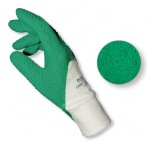 Gants latex naturel enduit adhérisé (dos aéré, poignet tricot) vert – Sachet de 2 paires