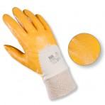 Gants enduit nitrile (dos aéré, poignet tricot) jaune – Sachet de 2 paires