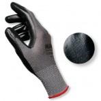 Gants sans couture enduit nitrile (dos aéré, poignet tricot) noir – Sachet de 5 paires