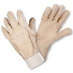 Gants cuir pleine fleur de bovin hydrofuge avec protège artère beige – Sachet de 2 paires