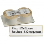 Etiquette papier blanc multi-usages (89 x 28 mm) – Rouleau de 130